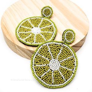 Lime Slice Beaded fruit Statement Earrings Green